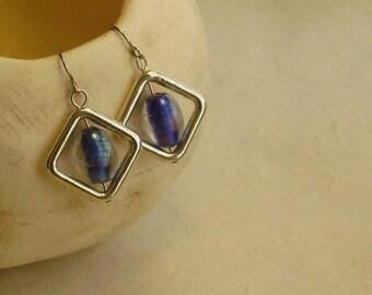 Blue oval inside silver plated diamond-shape dangle drop earrings