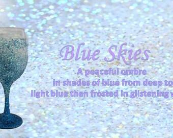 Blue Skies - Glitter Wine Glass