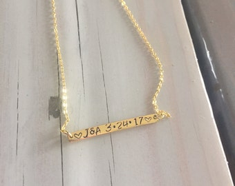 Wedding Initials and Date Necklace