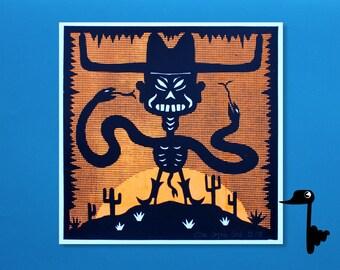 Halloween Desert Cowboy - 2 Color Screenprint