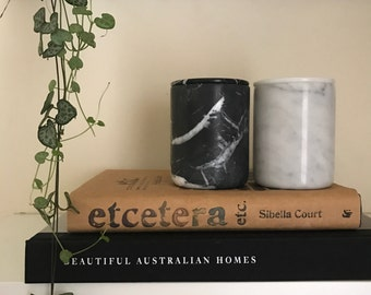 Luxurious marble jars, hand poured with coconut wax