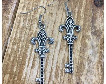 Silver fleur de lis key earrings