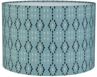 IKAT Teal  Geometric Style Cylinder / Drum Lampshades / Pendant Shade / Table