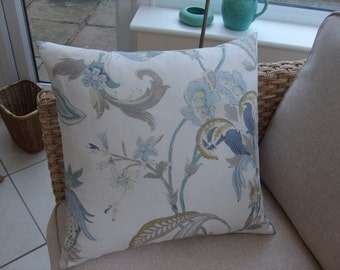 Cushion Cover 20 inch Square 'Omoko' by Aquitaine Linen Turquoise,Mocha & Cream Botanical/Floral Envelope Closure.