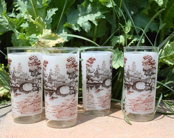 Currier and Ives Style Set of 4 Drinking Glasses, Pastoral Scene Drinking Glasses, Landscape Glasses