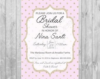 Gold & Pink Bridal Shower Invitation - Digital