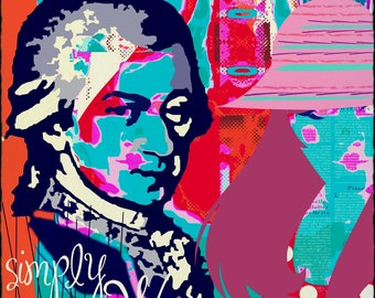 Mozart and the Women, music, Austria, PopArt, art, picture, mural, Mozart, Salzburg, Vienna, culture, gift, original, original