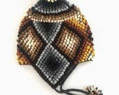 Handmade knitted Andes chullo, peruvian hat, traditional wool hat for adults. Unisex style, super warm.