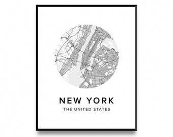 New York Map Poster, Map of New York Poster, New York Map, New York Print, Map Poster, Map Print, Printable Art, Art Print