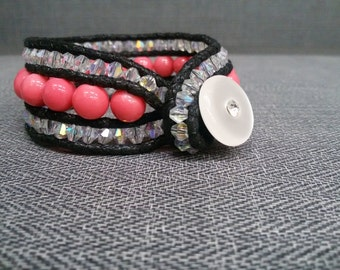 Women leather bracelet.Red Pink glass pearls with Real Leather string.Fantastic gift