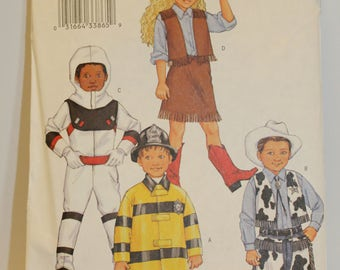 Butterick 3244  Cowboy Cowgirl Astronaut  Firefighter  Sizes 2-5