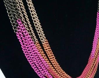 Multi chain multi colored ombre necklace