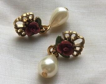 Goldtone Flower and Hanging Pearldrop Post Earrings