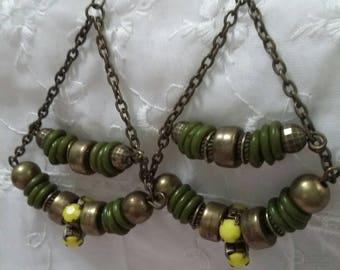 Brass green and yellow Boho beaded earrings