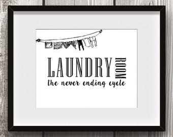 Laundry Room Quote Sign - DIGITAL ART PRINT - Never Ending Cycle - Home Decor, Gift Idea, Instant Download, Vintage