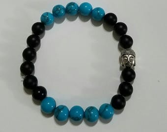 Natural blue turquoise/ebony rosewood beads with buddha head mala bracelet