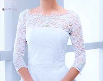 Bridal bolero lace 3/4 sleeves