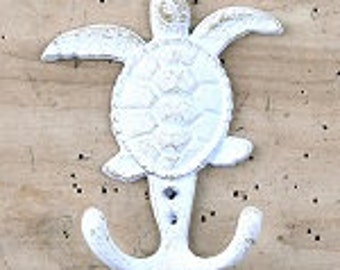 White Cast Iron Turtle Hook