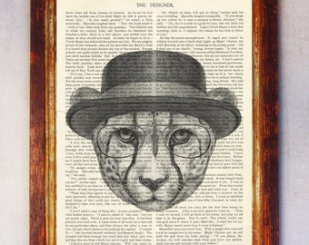 Leopard with Hat & Eyeglasses Art Print, Leopard Print, Leopard Illustration, Book Page Leopard Print, Dictionary Page Art, Leopard Poster