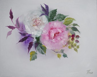 "Original Oil Painting | English Roses | 16"" x 20"""