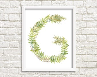 Floral wreath letter G/ floral monogram/ name print/ G letter print/ hand lettered/ instant download letter G/ alphabet letters/ custom art