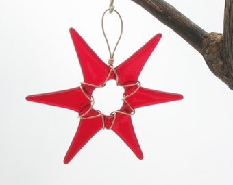 Transparent Red Glass Star Wrapped in Copper Wire