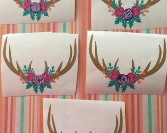 Floral deer horn decal