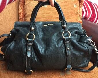 Miu Miu by Prada Black Vitello Bow Satchel Leather Bag Handbag Two handles Shoulder bag  Medium size travel Bag Smart Office