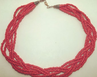 Red Coral Braided Necklace