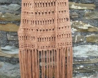 Vintage 70s hippie boho hipster hand crochet knitted vest waist coat jacket with long fringe Size S