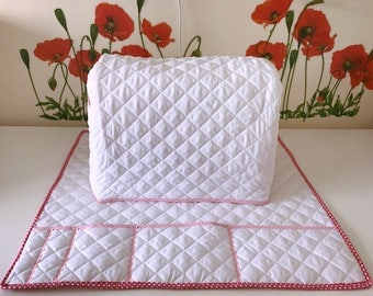 Sewing machine cover, Brother, Jenome, Singer,  Sewing Embroidery Machine dust Cover and Mat, Pre-quilted fabric, Embroidery machine cover