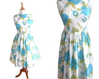 Vintage 1950's Watercolor Fit and Flare Dress - Size S