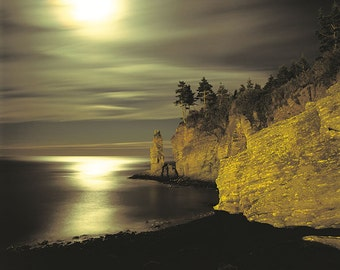 Monolith under the moon, Anse-aux-Gascons