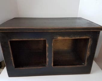Primitive Counter Top  Wood Storage Potato Onion Bin Cubby With Divider