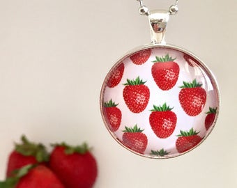 Strawberries Glass Pendant Necklace