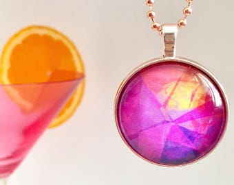 Bright Pink Glass Pendant Necklace