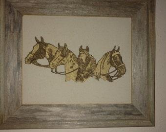 western art,framed western art ,embroidered framed horses