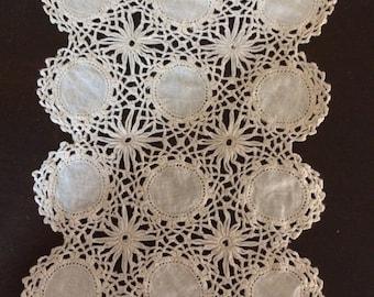 Crocheted and Woven Linen Ivory Rectangular Doily