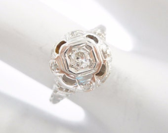 Diamond Ring, Vintage Diamond Ring, Diamond Wedding Ring, 18k White Gold .15 Carat Round Diamond Vintage Setting Ring Sz 6 #1713