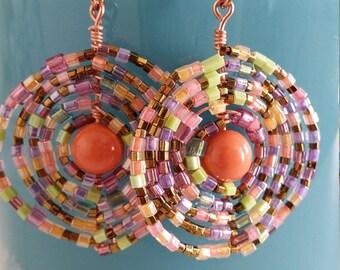earrings pearl orange swarovky