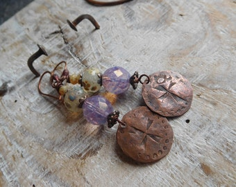 Earrings Bohemian, rustic style, copper, beads, lampwork, artisanal creation.
