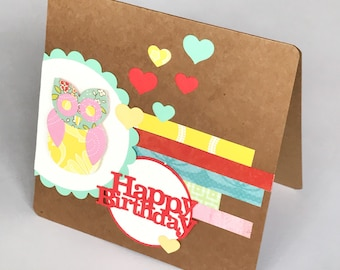 Owl Birthday Card, Birthday Girl Card, Happy Birthday Card, Card for girl, 1st Birthday Card, Little Girl Card, First Birthday Card,