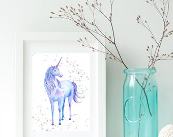Watercolor unicorn digital print, gold dust, wall art, desk art