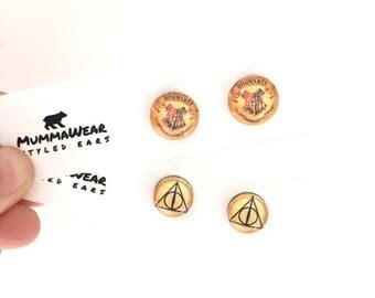 Harry Potter Glass Stud Earrings 15mm // MummaWear // Deathly Hallows // Hogwarts
