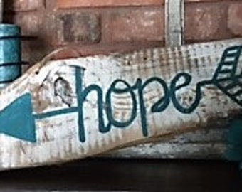 Unique One of a Kind Reclaimed Wood Sign of Hope