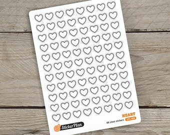 88 HEART stickers, clear stickers, planner stickers, transparent stickers, Happy Planner, Erin Condren, Filofax (SPC-008)
