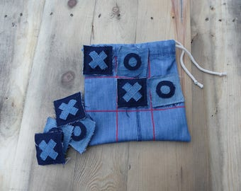 Tic Tac Toe game from denim bag, three wins, gift idea for children, travel game
