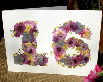 No 16, Husband 16th Anniversary, Blank Card, Wife 16th Anniversary, Daughter 16th Birthday, Friend 16th, English Pressed Flower PRINT