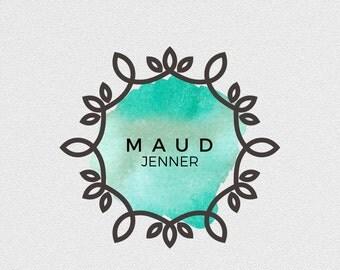Premade logo, Digital art, transparent background, logo design, custom logo, branding logo, round logo, watercolour print, elegant logo
