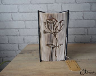 """Book Art """"Rose"""" - decorative object from a book - Collection A open book"""
